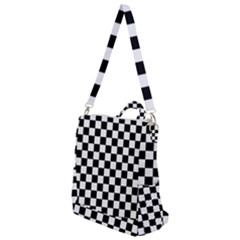 Black And White Chessboard Pattern, Classic, Tiled, Chess Like Theme Crossbody Backpack by Casemiro