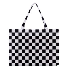 Black And White Chessboard Pattern, Classic, Tiled, Chess Like Theme Medium Tote Bag by Casemiro