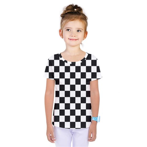 Black And White Chessboard Pattern, Classic, Tiled, Chess Like Theme Kids  One Piece Tee by Casemiro