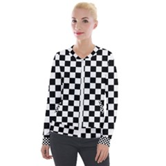 Black And White Chessboard Pattern, Classic, Tiled, Chess Like Theme Velour Zip Up Jacket by Casemiro