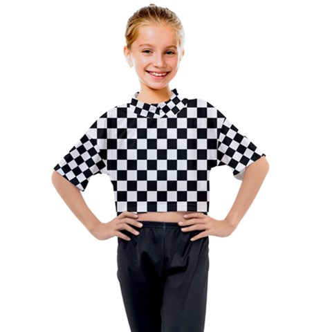 Black And White Chessboard Pattern, Classic, Tiled, Chess Like Theme Kids Mock Neck Tee by Casemiro