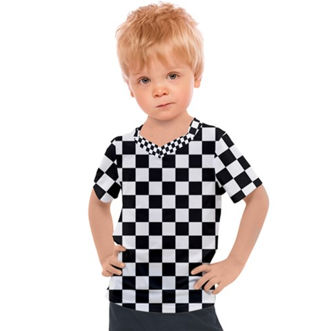 Black And White Chessboard Pattern, Classic, Tiled, Chess Like Theme Kids  Sports Tee by Casemiro