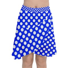 Dark Blue And White Polka Dots Pattern, Retro Pin-up Style Theme, Classic Dotted Theme Chiffon Wrap Front Skirt