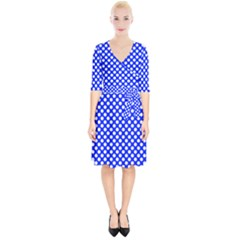 Dark Blue And White Polka Dots Pattern, Retro Pin-up Style Theme, Classic Dotted Theme Wrap Up Cocktail Dress by Casemiro