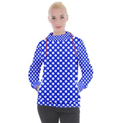 Dark Blue And White Polka Dots Pattern, Retro Pin-up Style Theme, Classic Dotted Theme Women s Hooded Pullover by Casemiro