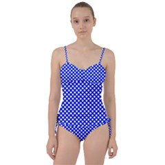 Dark Blue And White Polka Dots Pattern, Retro Pin-up Style Theme, Classic Dotted Theme Sweetheart Tankini Set by Casemiro