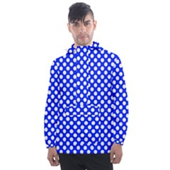 Dark Blue And White Polka Dots Pattern, Retro Pin-up Style Theme, Classic Dotted Theme Men s Front Pocket Pullover Windbreaker