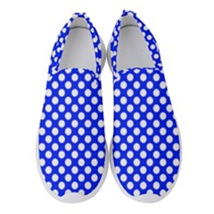 Dark Blue And White Polka Dots Pattern, Retro Pin-up Style Theme, Classic Dotted Theme Women s Slip On Sneakers by Casemiro