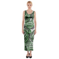 Biohazard Sign Pattern, Silver And Light Green Bio-waste Symbol, Toxic Fallout, Hazard Warning Fitted Maxi Dress by Casemiro