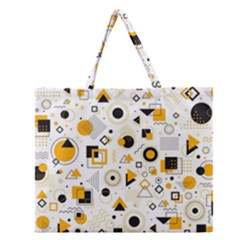 Flat Geometric Shapes Background Zipper Large Tote Bag
