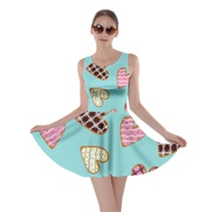 Seamless Pattern With Heart Shaped Cookies With Sugar Icing Skater Dress