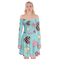 Seamless Pattern With Heart Shaped Cookies With Sugar Icing Off Shoulder Skater Dress