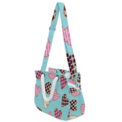 Seamless Pattern With Heart Shaped Cookies With Sugar Icing Rope Handles Shoulder Strap Bag