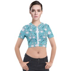 Elegant Swan Pattern Design Short Sleeve Cropped Jacket