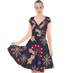 Christmas Pattern With Snowflakes Berries Cap Sleeve Front Wrap Midi Dress