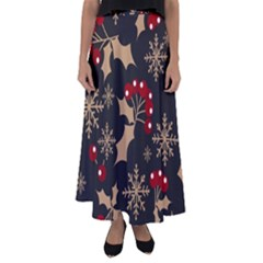Christmas Pattern With Snowflakes Berries Flared Maxi Skirt by Bejoart