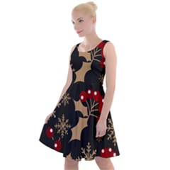 Christmas Pattern With Snowflakes Berries Knee Length Skater Dress