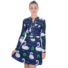 Swan Pattern Elegant Design Long Sleeve Panel Dress