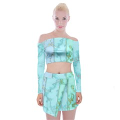Background Marble Set Off Shoulder Top With Mini Skirt Set by Bejoart