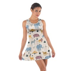 Wild Animals Seamless Pattern Cotton Racerback Dress