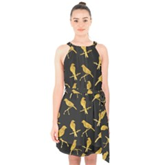 Background With Golden Birds Halter Collar Waist Tie Chiffon Dress by Bejoart