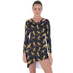 Background With Golden Birds Asymmetric Cut-out Shift Dress by Bejoart