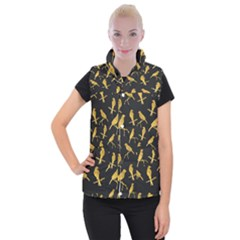 Background With Golden Birds Women s Button Up Vest by Bejoart
