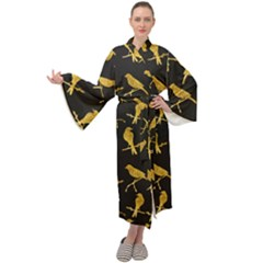 Background With Golden Birds Maxi Velour Kimono by Bejoart