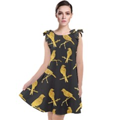 Background With Golden Birds Tie Up Tunic Dress by Bejoart