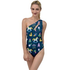 Cute Babies Toys Seamless Pattern To One Side Swimsuit by Bejoart