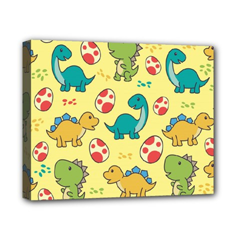 Seamless Pattern With Cute Dinosaurs Character Canvas 10  X 8  (stretched)