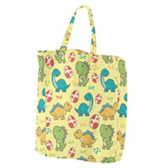 Seamless Pattern With Cute Dinosaurs Character Giant Grocery Tote