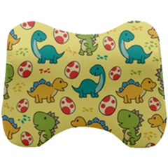 Seamless Pattern With Cute Dinosaurs Character Head Support Cushion by Bejoart
