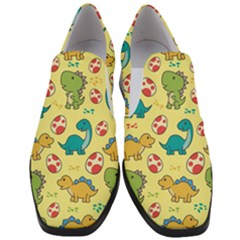 Seamless Pattern With Cute Dinosaurs Character Women Slip On Heel Loafers by Bejoart
