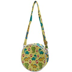 Seamless Pattern With Cute Dinosaurs Character Crossbody Circle Bag