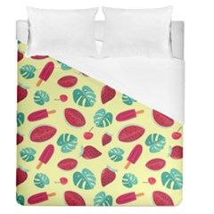 Watermelons, Fruits And Ice Cream, Pastel Colors, At Yellow Duvet Cover (queen Size)