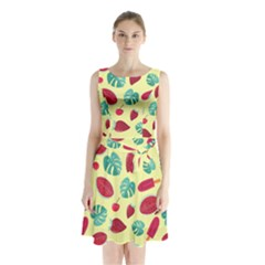 Watermelons, Fruits And Ice Cream, Pastel Colors, At Yellow Sleeveless Waist Tie Chiffon Dress