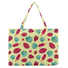 Watermelons, Fruits And Ice Cream, Pastel Colors, At Yellow Zipper Medium Tote Bag by Casemiro