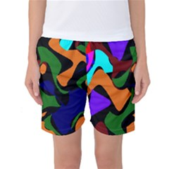 Trippy Paint Splash, Asymmetric Dotted Camo In Saturated Colors Women s Basketball Shorts by Casemiro