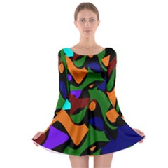 Trippy Paint Splash, Asymmetric Dotted Camo In Saturated Colors Long Sleeve Skater Dress by Casemiro