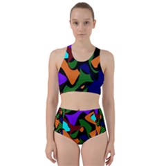 Trippy Paint Splash, Asymmetric Dotted Camo In Saturated Colors Racer Back Bikini Set by Casemiro