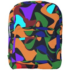 Trippy Paint Splash, Asymmetric Dotted Camo In Saturated Colors Full Print Backpack by Casemiro