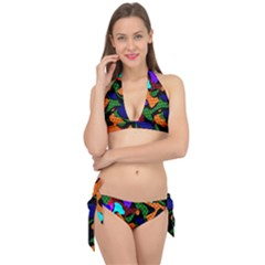 Trippy Paint Splash, Asymmetric Dotted Camo In Saturated Colors Tie It Up Bikini Set by Casemiro
