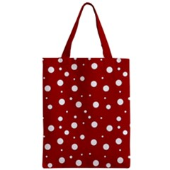 Mushroom Pattern, Red And White Dots, Circles Theme Zipper Classic Tote Bag