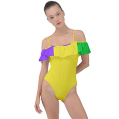 Carnival Mardi Gras Purple Yellow Green Stripes Frill Detail One Piece Swimsuit