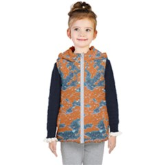 Vivid Grunge Abstract Print Kids  Hooded Puffer Vest