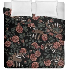 Raccoon Floral Duvet Cover Double Side (king Size)