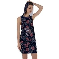 Raccoon Floral Racer Back Hoodie Dress
