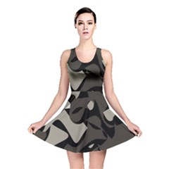 Trippy Sepia Paint Splash, Brown, Army Style Camo, Dotted Abstract Pattern Reversible Skater Dress by Casemiro