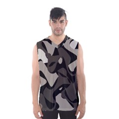 Trippy Sepia Paint Splash, Brown, Army Style Camo, Dotted Abstract Pattern Men s Basketball Tank Top